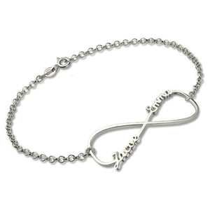 Infinity Double Name Bracelet In Sterling Silver