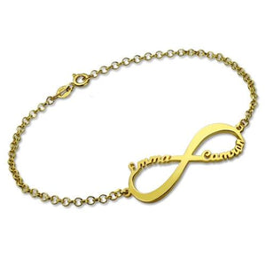 Personalized Infinity Symbol Name Bracelet In Gold