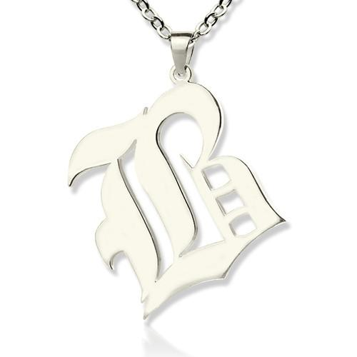 Personalized Initial Letter Charm Old English Sterling Silver
