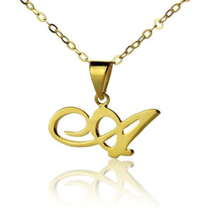 Solid Gold Christina Applegate Initial Necklace-10K/14k/18k