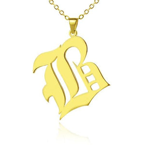 Custom Mens Initial Letter Charm Old English 18k Gold Plated