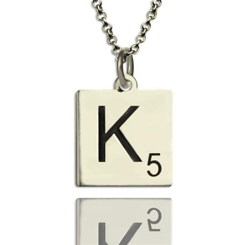 Scrabble Initial Letter Necklace Sterling Silver