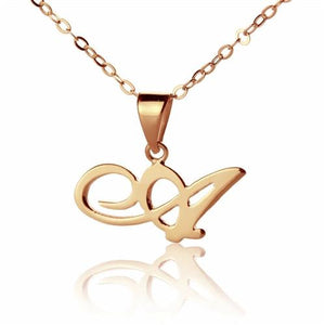 Custom Letter Necklace 18K Rose Gold Plated