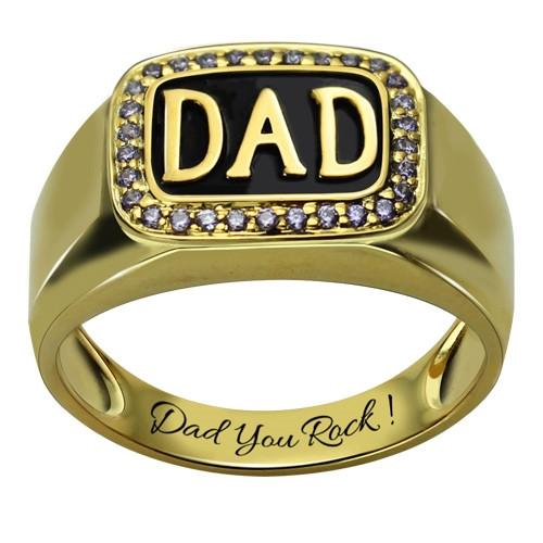 Men's Birthstone DAD Ring Gold Plated Silver