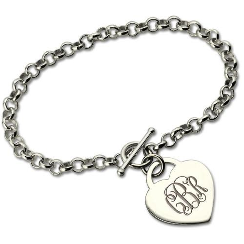 Personalized Monogram Charm Bracelet For Her Silver