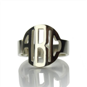 Sterling Silver Block Monogram Ring Gifts