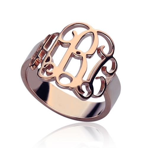 Personalized Rose Gold Monogram Ring