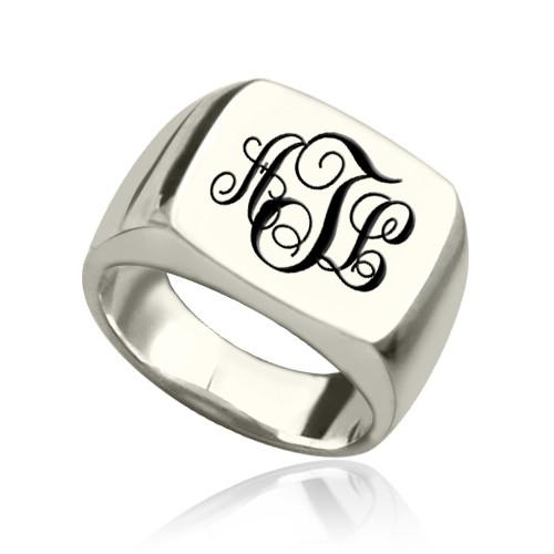 Personalized Signet Ring Sterling Silver with Monogram