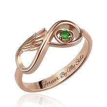 Angel Wing Infinity Heart Ring with Birthstone In Rose Gold