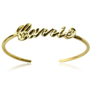 Personalized 18k Gold Plated Name Bangle Bracelet