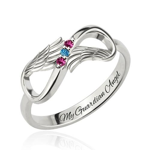 Angel Wings Infinity Ring with Birthstones Platinum Plated