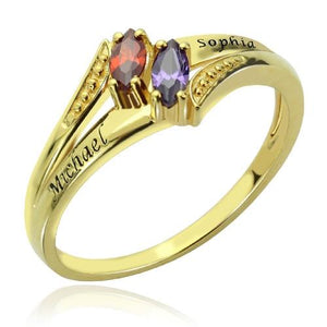 Engraved Double Birthstones Ring 18K Gold Plated Silver