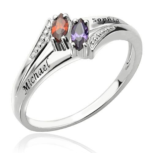 Sterling Silver Engraved Double Birthstones Ring