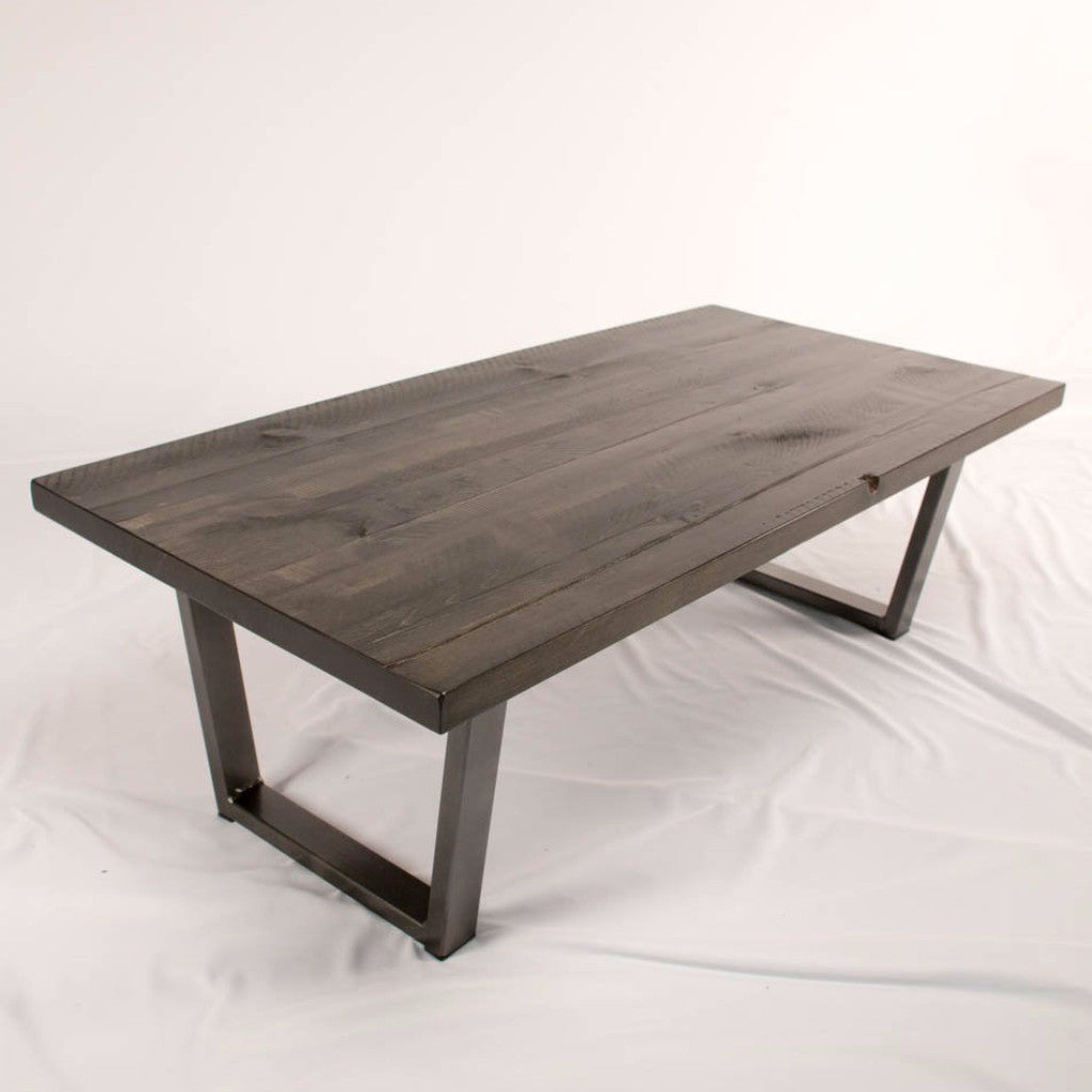 Barn Board Bench In Shale Finish With Angle Steel Legs