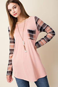 LONG SLEEVE SOLID TOP WITH PLAID CONTRAST