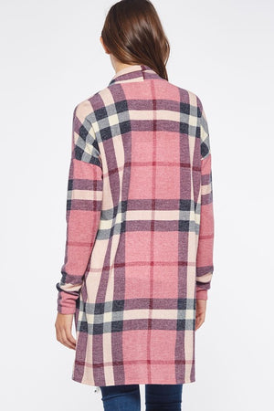 Pink Plaid Cardigan-Plus Size