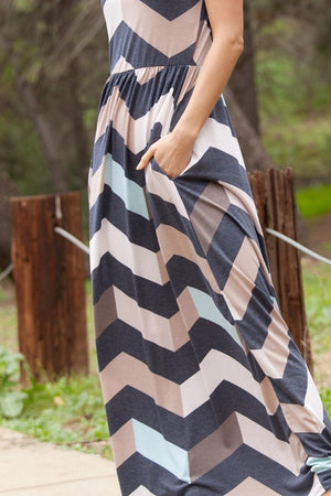 Halter Neck Chevron Maxi Dress