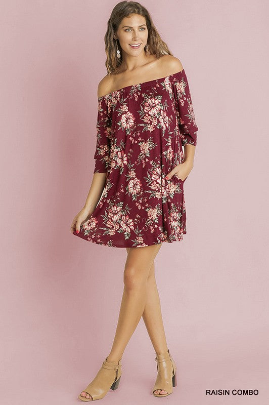 Floral Print Off the Shoulder Swing Dress