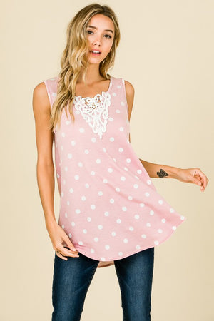 CROCHET LACE DETAIL POLKA DOT SLEEVELESS TOP