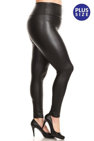 Faux Leather Leggings-Plus Size