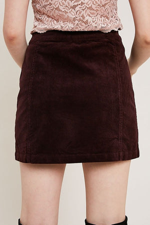 CORDUROY SIDE BUTTON MINI SKIRT