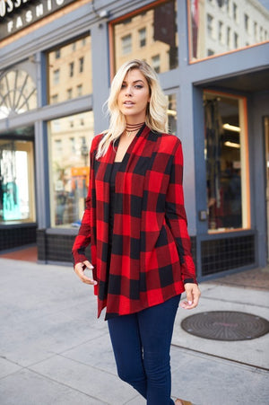 PLAID PRINT CARDIGAN WITH ELBOW PATCHES