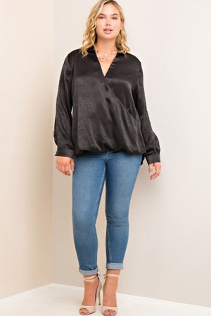 Solid Wrap Style V-neck Blouse