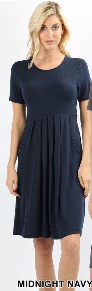 PREMIUM PLEATED WAIST SHORT SLEEVE DRESS