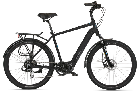 Del Sol Lxi Flow IO black men's Electric bike with Shimano motor, rear carrier and mudguards