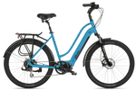 Del Sol Lxi Flow ebike with easy entry frame in bright blue, 2020 model