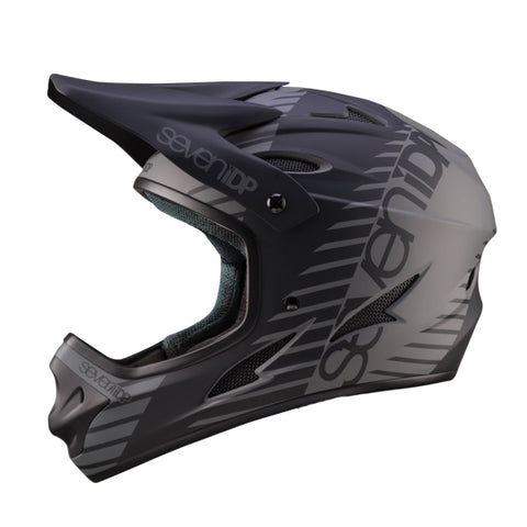 7iDP M1 Black Full Face DH BMX Helmet has adjustable visor and large face opening for goggles