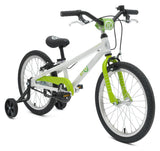 BYK E350 Kids Bike in Ninja Green is a longer wheelbase for stability with two hand brakes and a pedal brake for kids to learn on