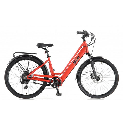 Black City ebike in red with throttle