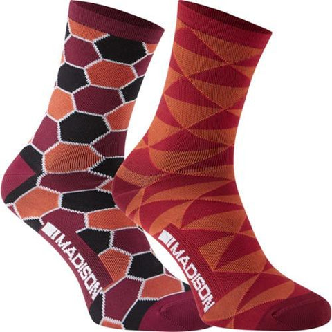 Madison Sportive Race Womens Long Sock Red Combo Twin Pack