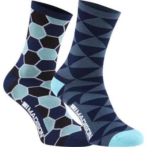 Madison Sportive Race Womens Long Sock Blue Combo Twin Pack