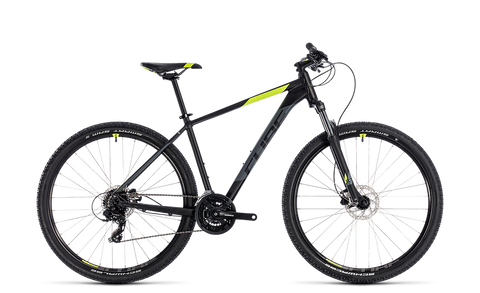Cube Aim 2018 Black 'n' Green 29er hardtail mountain bike with disk brakes