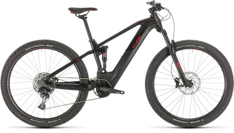 Cube Stereo Hybrid Pro 500 electric mountain bike in black and red , 2020 model