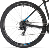 Black and blue German designed Cube Aim 2019 mountain bike with suntour front suspension fork, 27.5 wheel, under $900