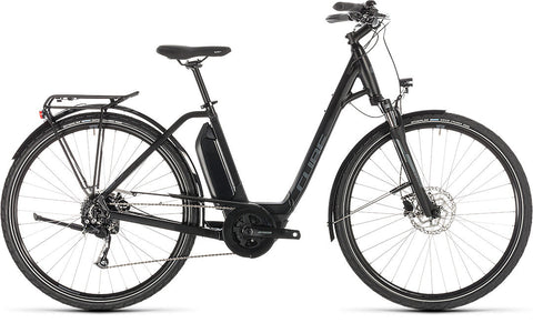 Cube Town Sport Hybrid e-bike with center Bosch motor, complete with mudguards,carrier and kickstand for pathway and urban cycling.