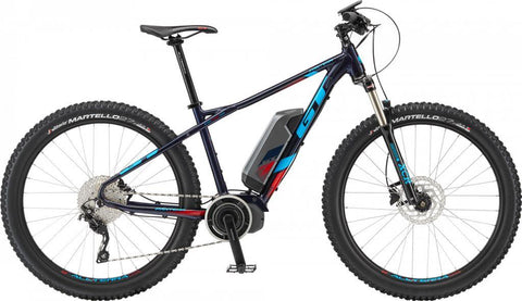 GT ePantera Dash 2019 27.5 electric mountain bike in Navy Blue with Shimano STEPS 6000 electric drive system, ideal for off road mountain biking