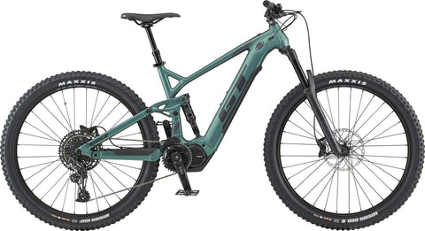 GT electric mountain bike eForce Amp 2020 29er model with full suspension and 150mm travel
