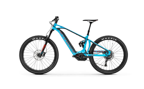 Full suspension Blue Mondraker electric mountain bike - e-crafty R+, new for 2018, Bosch Performance CX Motor and Purion computer