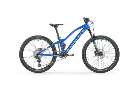 "Mondraker's 24"" full suspension kids mountain bike is ideal for aspiring riders aged 8 - 10 years."