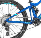 "Mondraker's Factor 24"" kids blue mountain bike is a full suspension with Rockshox Monarch Rear Shock and a good range of gears"