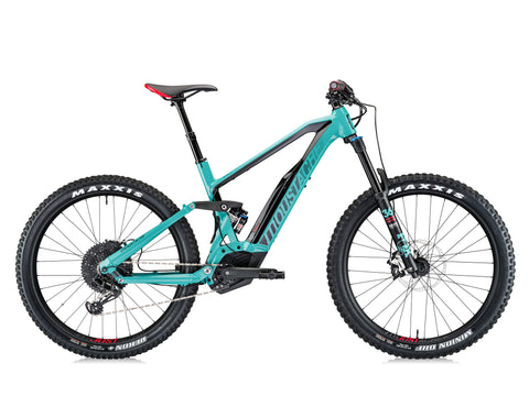 Moustache Samedi 27 Race 8 2018 electric mountain bike in Teal blue featuring the most powerful Bosch electric mid mount motor - Performance CX - for maximum climbing power over any terrain and integrated Bosch PowerPack battery hidden in frame.