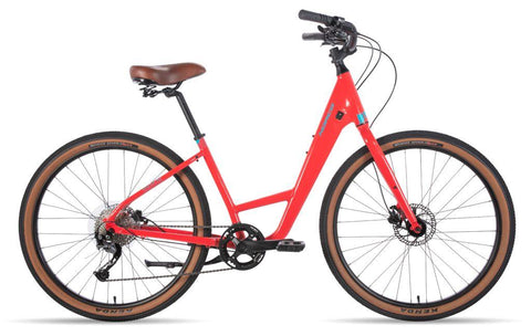Norco Scene 1 2020 pathway bike in strawberry red with 27.5 wheels, Tektro hydraulic disk brakes, Shimano 9 speed gears, our most popular pathway bike model