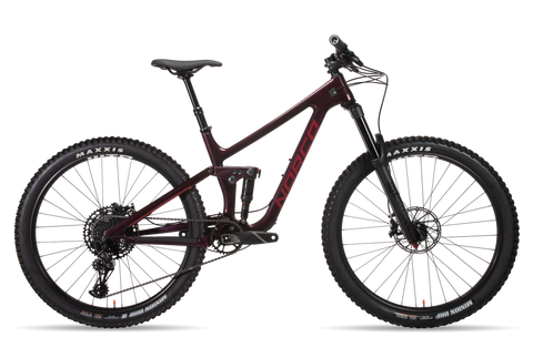Norco Sight Carbon C3 Women's All Mountain Bike new for 2019 in wine colourway, full suspension part carbon frame, boost and dropper seat post
