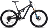 Pivot Mach 5.5 black carbon mountain bike with full suspension includes Fox forks with 160mm travel, optional upgrades carbon wheels