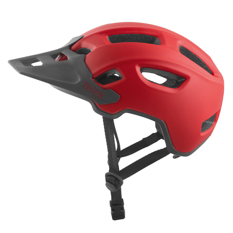 Red TSG Trailfox enduro mountain bike helmet and ebike helmet with good rear head coverage for a safer ride