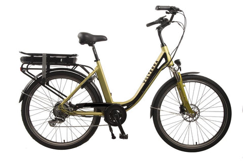 Volterra Sport Low Step Through ebike with comfort saddle, upright handlebars and rear wheel drive electric motor